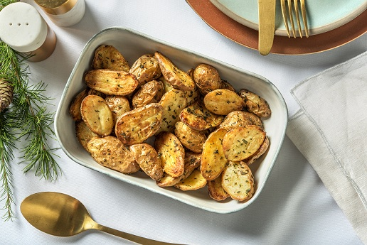 gebakken aardappels - vegan kaasfondue - vegan kerst