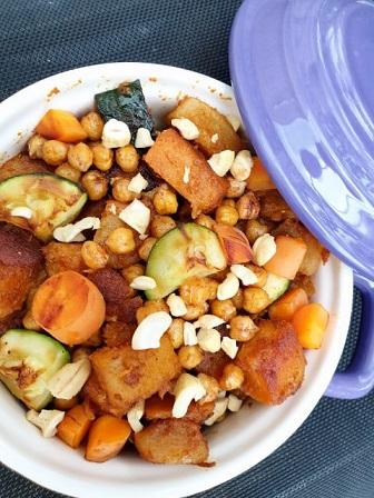 Vegan zoete aardappel met kikkererwten schotel