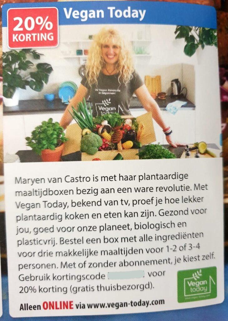 Vegan today - vegan maaltijdbox - korting op eten - veganistiche maaltijd - postcode loterij