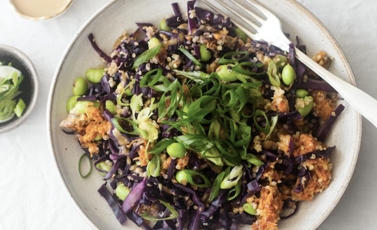 Vegan recept - veganistisch koken - vegan rodekool - Edamame met quinoa