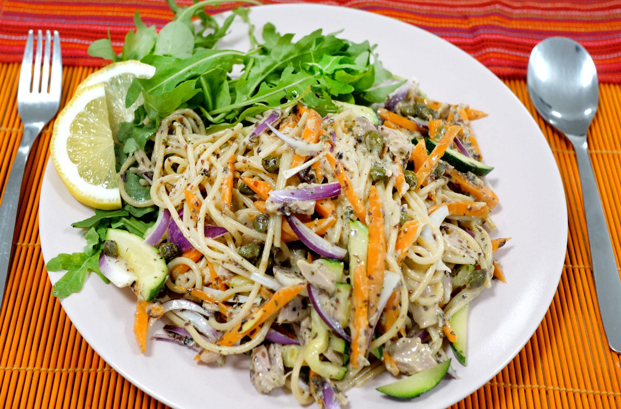 plantaardige tonijn-spaghetti - Vegan tonijn-spaghetti een lekkere pasta